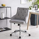 LPEAK Grau Samt Schreibtischstuhl Bürostuhl Ergonomisch Computerstuhl Arbeitsstuhl Drehstuhl Neigungsfunktion Verstellbare Höhe