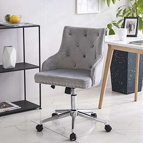 LPEAK Velvet Office Computer Chair, Executive PC Computer 360°Swivel Height Adjustable Chair Rocking Chair with Wheels,Light Grey with Copper Nail