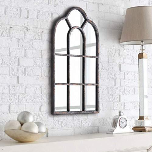 Rumcent Espejo de Pared, Espejo de Ventana arqueado Vintage, Espejo de Pared con Marco de Metal para recámara, Sala de Estar, galería y Pasillo