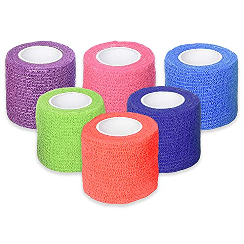 Ever Ready First Aid Self Adherent Cohesive Bandages 2' x 5 Yards - 6 Count, Rainbow Colors