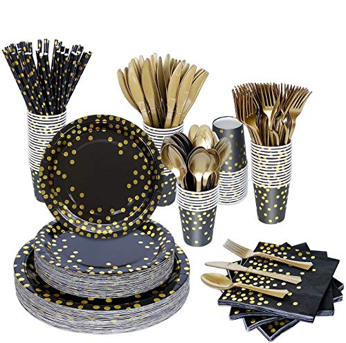 Black and Gold Party Supplies, 400PCS/Serves 50 Disposable Party Dinnerware Set, Black Paper Plates Cups Napkins, Gold Plastic Knives Forks Spoons for Graduation Birthday Christmas New Year Eve Party