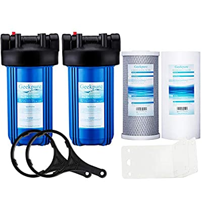 """Geekpure 2 Stage Whole House Water Filtration System w/ 10-Inch Big Blue Housing 4.5""""x 10"""" with PP and Carbon Filters-1""""NPT Inlet/Outlet"""