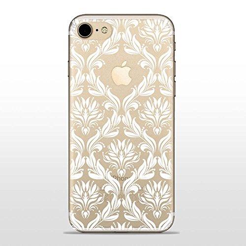 SLIDE IP7 Cover in TPU Gel Trasparente Custodia Protettiva Collection, Damasco Bianco, iPhone 7