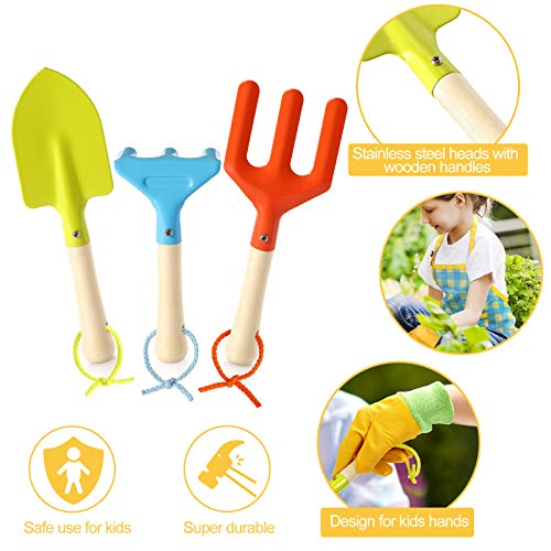 Kids Gardening Set - Kids Gardening Tools Set Colorful Children Garden Tools Fun STEM Toys with Watering Can, Gloves, Shovel, Rake, Trowel, Storage Bag, Apron, Sprayer - Gifts for Boys and Girls