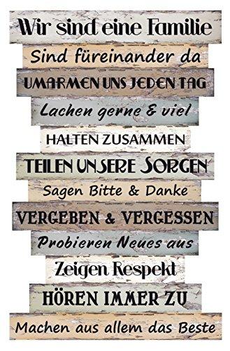 Bada Bing Planken Schild Familie Familienregeln Groß 51 x 33 Wandschild Bild Spruch Deko 037