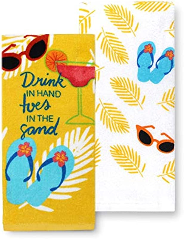 Tropical Beach Kitchen Towels Set Of 2 Summer Flip Flop Theme Cotton Dish Towel 2 Pack Gift Set