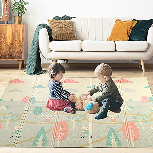 MIALX Alfombrilla De Juego para Bebés Extragrande, Alfombrilla Plegable Reversible De Espuma No Tóxica para Gatear, Impermeable para Niños, Bebés Y Niños Pequeños,200x180x2cm