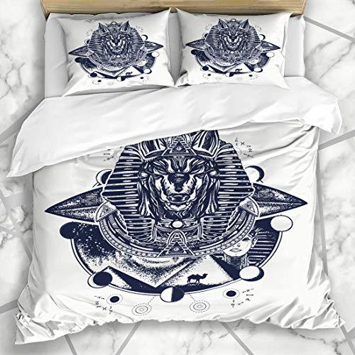 LIS HOME Bettbezug-Sets Hund Astronauten Dekoration Antiquit?Ten Anubis Symbole Druck Tattoo Pal?okontakt ?gypten Design Maske Weiche Mikrofaser Dekoratives Schlafzimmer mit 2 Kissen Shams