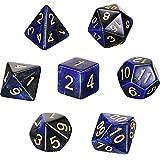 Set de 7 Dados DND Juego de Dados Poliédricos con Bolsa Negra Set de Dados de Dragones y Mazmorras Set de Dados de Juegos de rol para Explorador Juego de rol RPG (Azul y Negro)