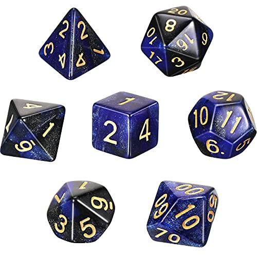 Set di 7 Pezzi Dadi DND Dadi Poliedrici a 7 Die Dadi per Giochi di Ruolo Dadi Poliedrici con Sacchetto Nero per Esploratore di Dungeons e Dragons, Nebulosa Blu Nera