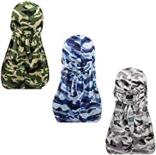 Military Camouflage Premium Silky Durags with Long Tail Colorful 360 Waves Doo rag for Men Du rag Cap (3/4 Packed), Set1-silky-3 Packed, Medium