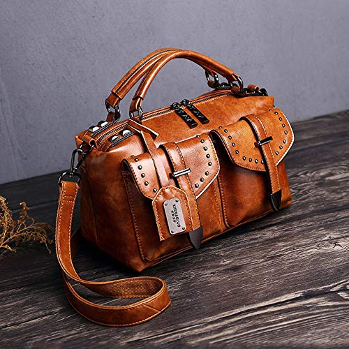 QND,Hombro Bolso,Bolsos de Cuero de PU para Mujer Bolso de Color sólido para Mujer Bolsos para Mujer Diseñador, marrón