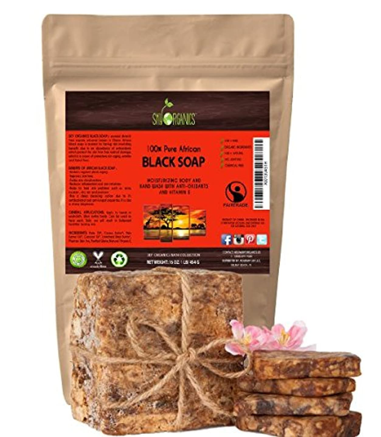 記念碑的な放棄虚偽切って使う オーガニック アフリカン ブラックソープ (約4563gブロック)Organic African Black Soap (16oz block) - Raw Organic Soap Ideal for Acne, [並行輸入品]