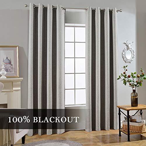 Melodieux Halbtransparente Gardinen für Wohnzimmer Schlafzimmer Elegante Fenster Voile Vorhänge 2 Panels, Polyester-Mischgewebe, grau, 52x84 Inch