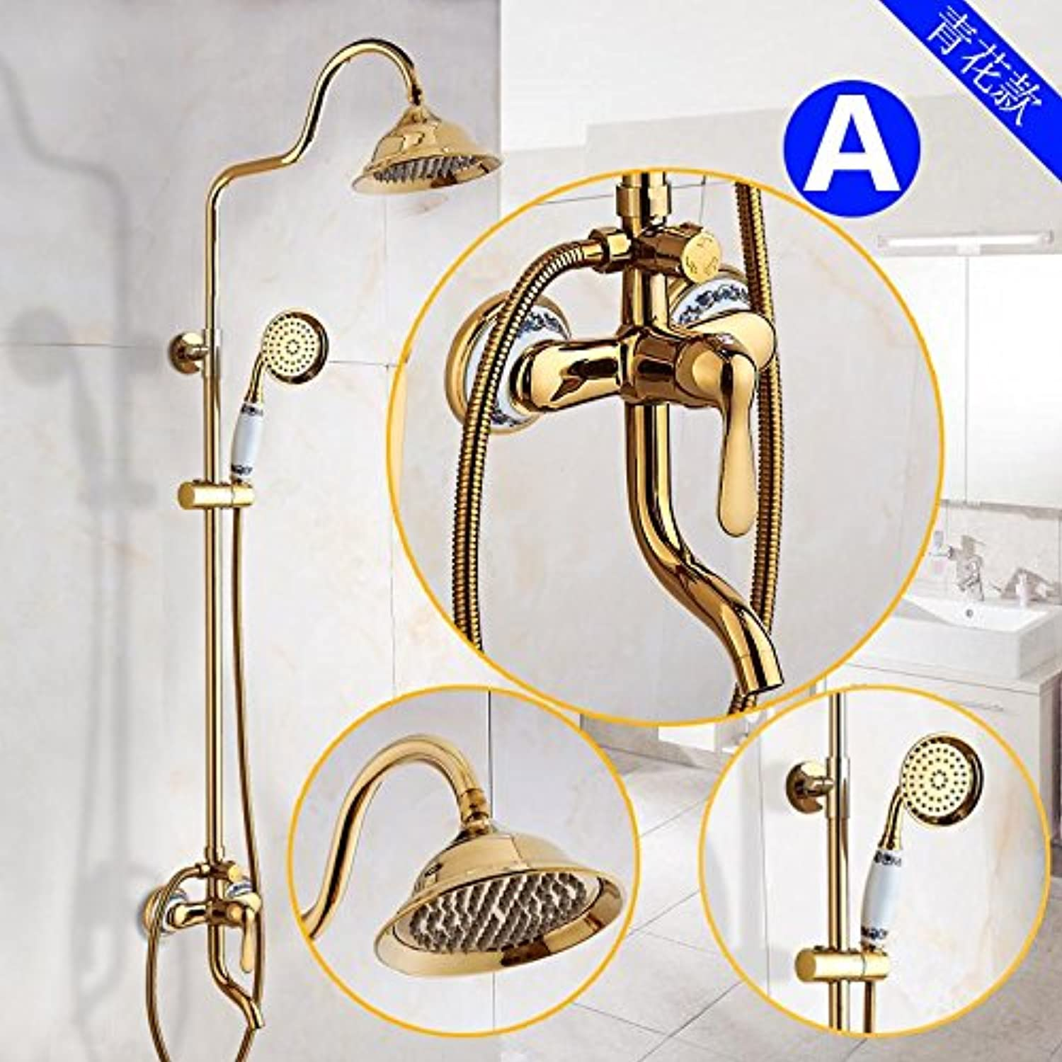 NewBorn Faucet Kitchen Or Bathroom Sink Mixer Tap The golden Shower Antique Shower Kit Full Copper Hot And Cold Shower Water Tap bluee B