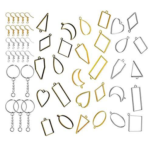 freneci Biseles Abiertos para Resina, Colgantes de Marco Hueco biseles artesanales de Resina joyería para moldes de fundición de Resina, Collares Pendientes - 55PCS