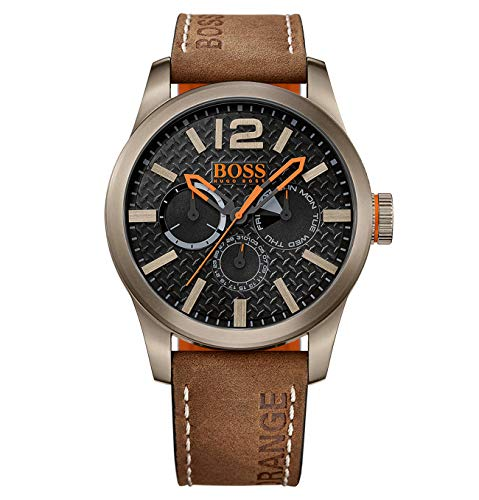 Hugo Boss Orange Paris Herren-Armbanduhr Quartz mit braunem Leder Armband 1513240