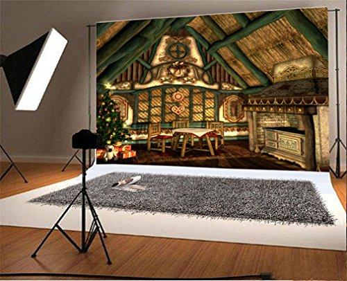 YongFoto 3x2m Vinyl Foto Hintergrund Weihnachten Weihnachten Baum Geschenke Blockhaus Indoor Fotografie Hintergrund für Fotoshooting Portraitfotos Party Kinder Hochzeit Fotostudio Requisiten