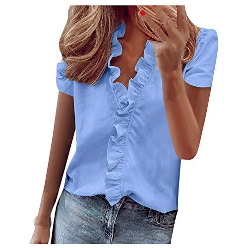 Qigxihkh Damen Sommer Rüschen V-Ausschnitt Kurzarm Solid Print Casual Dressy T-Shirt Top(2-Blau, XXL)