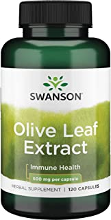 Swanson Olive Leaf Extract Supplement: 500 MG Olive Leaf Extract Capsules with 20% Oleuropein - Antioxidant...