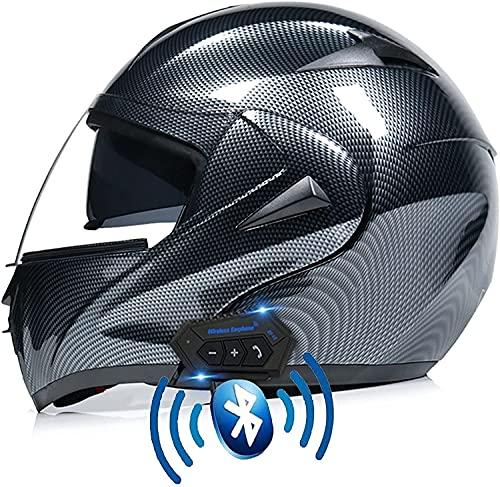 Motorbike Helmet Casco de Motocicleta Cascos Bluetooth Antivaho-Visor Doble-Cara Completa abatible Aprobación ECE/Dot con protección contra la Lluvia-HD-Lente Dual S-XL para Adultos YSDKJ623(Color