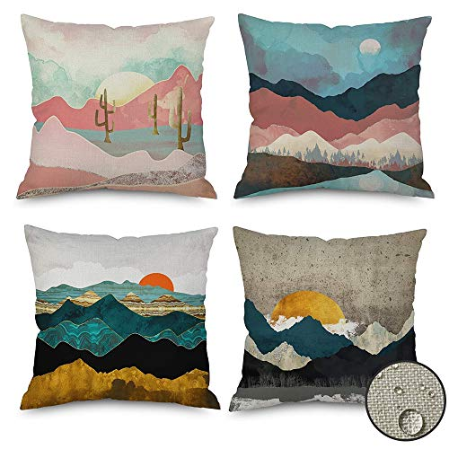 vigvog Outdoor Waterproof Cushion Covers 45 x 45, Pack of 4, Water Resistant Scatter Garden Cushion Covers for Outside Bench Sofa Furniture (Sunrise)