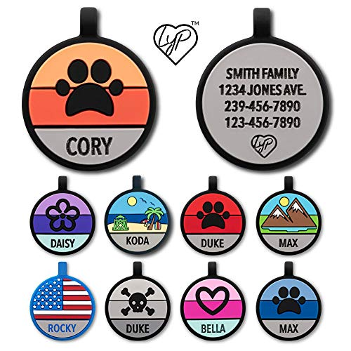 Love Your Pets Soundless Pet Tag - Designer Deep Engraved Silicone – Double Sided and Engraving Will Last - Many Design Choices of Pet ID Tags, Dog Tags, Cat Tags (Orange, Paw)