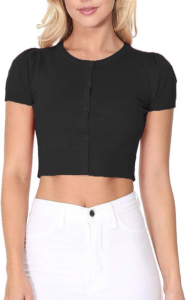 rrhss Womens Soild Short Sleeve Cardigans Sweater Classic Button Down Sweater Shrugs