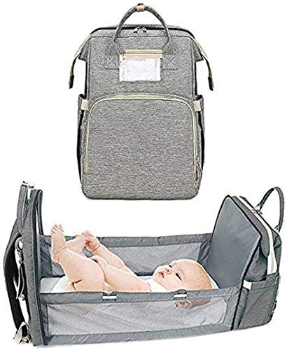 FGDJTYYJ Baby Diaper Bags Backpack with Mattress, 4 in 1 Multifunction Portable Bed, Convertible Stroller Lightweight Organizer Baby Backpacks Travel Bed Bag, Foldable Changing Mat (Color : Gray)