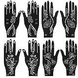 Jurxy 4 Pares Kit de Plantilla de Tatuaje de Mano de Henna temporales Diseños de Arte Corporal Kit de Pegatinas Autoadhesivas Reutilizables - Varios Patrones para Niñas Mujeres Adolescente