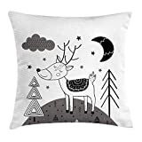 JIMSTRES Doodle Throw Pillow Cushion Cover, Tribal Deer Clouds Stars Moon Scandinavian Textured Ethnic Kids Monochrome, Decorative Square Accent Pillow Case,Grey Black White 22x22 inches