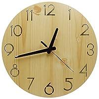 壁掛け時計木製 サイレント連続秒針寝室の装飾掛け時計無騒音部屋装飾 時計 無声クルミ色約30cm
