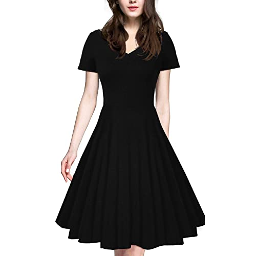 ecdec7a8004 iLover Women 1950s V-Neck Vintage Rockabilly Swing Cocktail Evening  Stretchy Casual Work Businees Dress