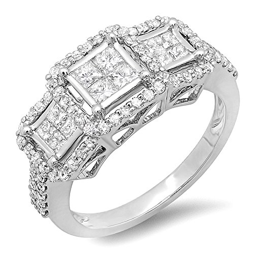 DazzlingRock 14K White Gold Brilliant Round & Princess Cut Diamond 3 Stone Ladies Engagement Bridal Ring (1.25 Cttw, H-I Color, Si-I Clarity)