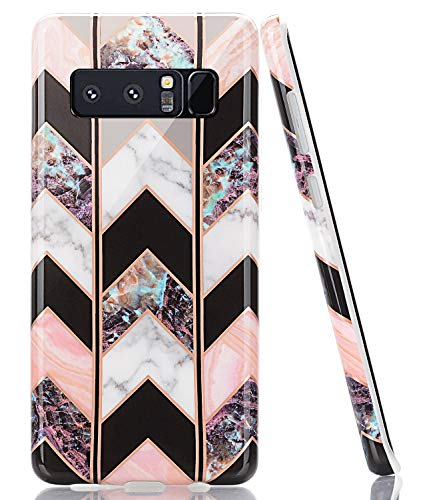 BAISRKE Galaxy Note 8 Case, Shiny Rose Gold Lines Wave Geometric Case Slim Soft TPU Rubber Bumper Silicone Protective Phone Case Cover for Galaxy Note 8 [ Black Marble]