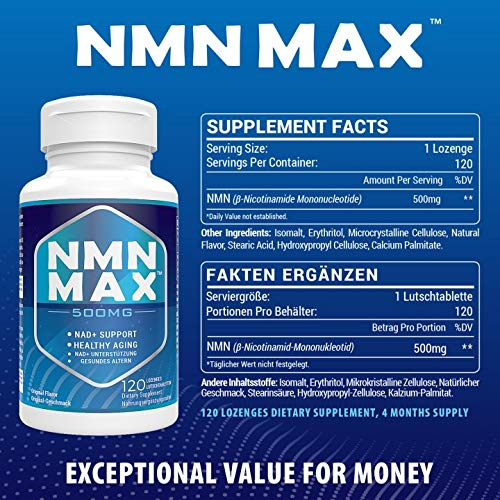 518p2KJxn+L. SL500  - NMN 500mg Sublingual, NAD+ Booster Supplements, Fast-Acting NMN Nicotinamide Mononucleotide,Boost NAD Levels for Anti-Aging, Energy supplement, Cellular Repair & Healthy (1 Pack 120 Lozenges)