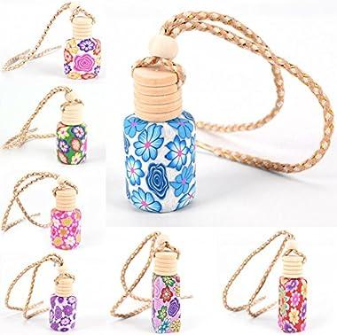 Eshylala 5 Pack Pottery Clay Perfume Fragrance Empty Hanging Perfume Bottle Refillable Air Freshener Ornament, Random Style