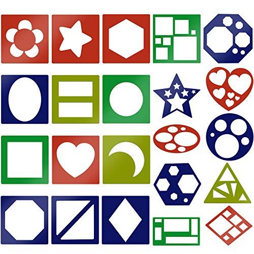 MWOOT 22 Piezas Set de Plantillas de Pintura,Plantillas de Formas Geométricas para el Aprendizaje de la Pintura, Decoración del Arte de Bricolaje