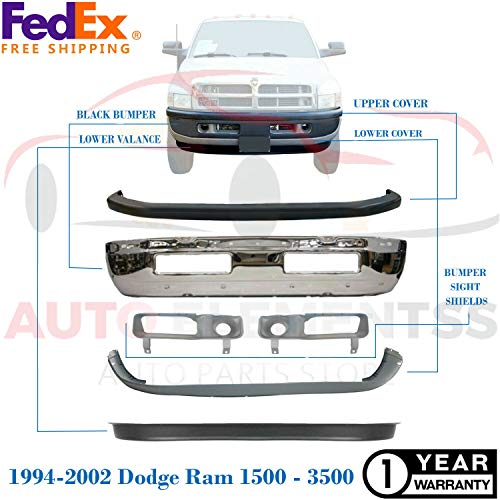 New Front Bumper Face Bar Chrome For 1994-2002 Dodge Ram Base Standard/Extended Cab Pickup Direct Replacement Lower Valance Upper Cover Sight Shield Left Hand & Right Hand Side