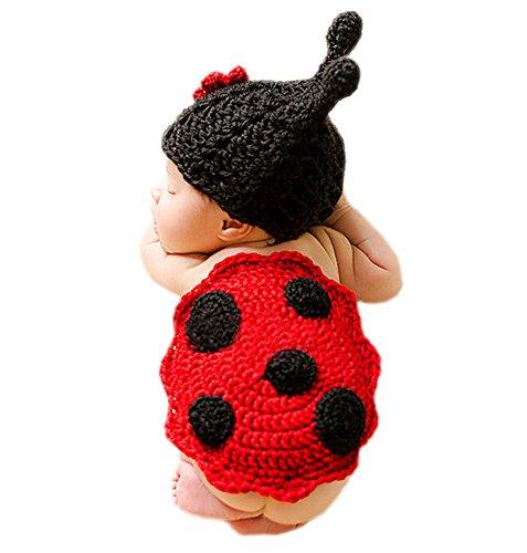 DELEY Bébé au Crochet Tricot Dessin animé Coccinelle Costumes Unisexe Casquette Tenue de la Photographie Prop de 0 à 6 Mois
