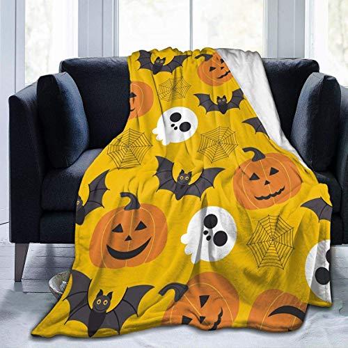 Manta de franela con diseño de calavera, murciélago, ligera, acogedora y suave, para sofá, adecuado para todas las estaciones para niños, mujeres, hombres, 80 x 60