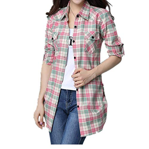 Camisa de manga larga para mujer, de algodón puro, de otoño, de manga larga, talla grande