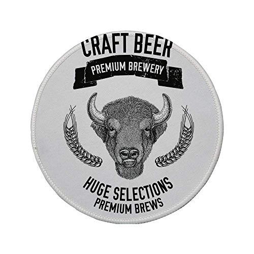 Rutschfreies Gummi-Rundmaus-Pad Man Cave Decor handgezeichnetes Bier-Emblem mit Buffalo Ox Bull Premium-Brauerei-Hafer-Auswahl Schwarz-Weiß 7,87 'x 7,87' x 3 mm