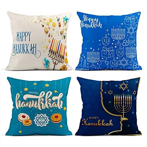 Hanukkah Set of 4 Pillowcase,Throw Pillow Covers Set of 4 Decorative Cushion Covers for Sofa BedJewish Cake Candlestick Blue Hanukkah Decoration,18'x18'