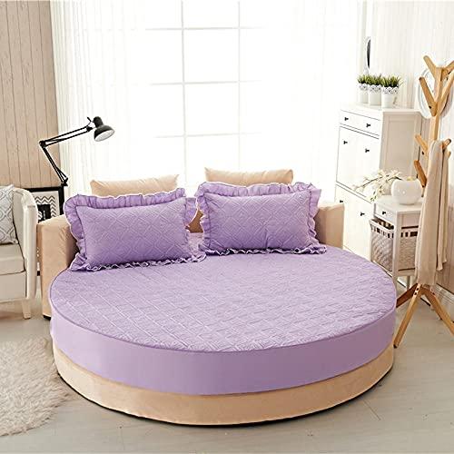 CYYyang Funda de colchón Anti chinches, Transpirable, Funda de Cama Redonda de una Pieza de algodón Puro-Violeta Claro-Quilted_1.8m