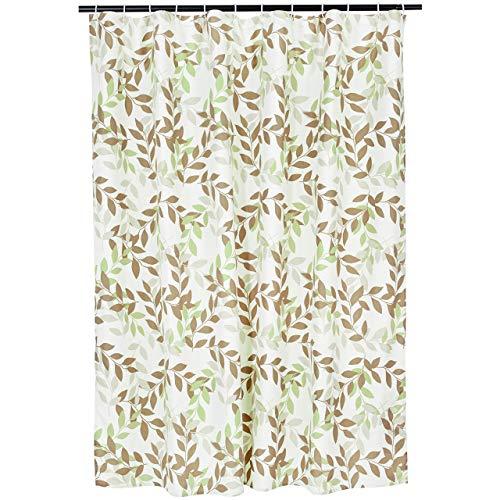 Amazon Basics Bathroom Shower Curtain - Green/Taupe Foliage, 72 Inch