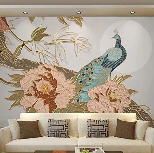 Fotomural Vinilo Para Pared Infantil Pavo real floral dorado 400x280cm Fondo de La Habitación de Los Niños Muro Profesional Fabricación de Murales Poster Photo Wall 3D Fotomurales