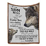 Personalized Custom Name Message Blanket to My Son from Dad or Mom, Never Forget That I Love You, All Seasons Couch Travelling Camping Blanket 30 x 40 Inches