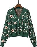 juew Moda V Cuello De Punto Cárdigan Coreano Suelto Chic Impresión Mujeres Suéter Chaqueta Chaqueta Otoño Prendas De Punto, verde, Talla única