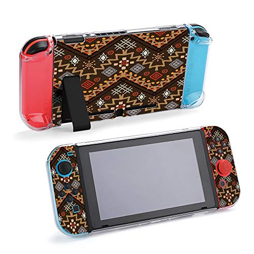 SUPNON Switch Case Compatible with Nintendo Switch Games Protective Hard Carrying Cover Case for Nintendo Switch Console Joy Con Controlle - Tribal Art Boho Seamless Pattern Design17156